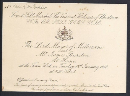 Invitation Meet Field Marshall Earl Kitchner Melbourne Australia 1910 World Tour